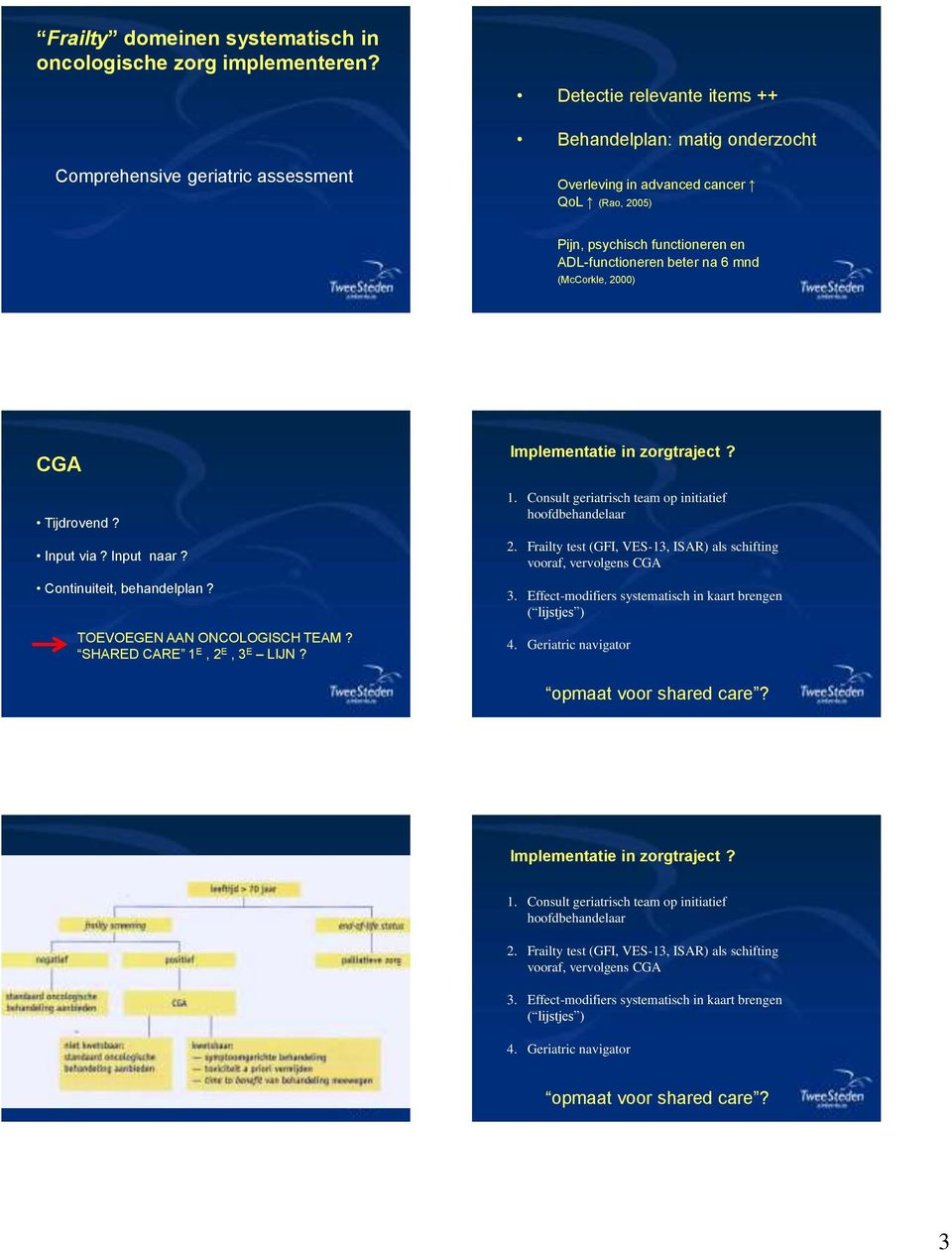 mnd (McCorkle, 2000) CGA Tijdrovend? Input via? Input naar? Continuiteit, behandelplan? TOEVOEGEN AAN ONCOLOGISCH TEAM? SHARED CARE 1 E, 2 E, 3 E LIJN? Implementatie in zorgtraject? 1. Consult geriatrisch team op initiatief hoofdbehandelaar 2.