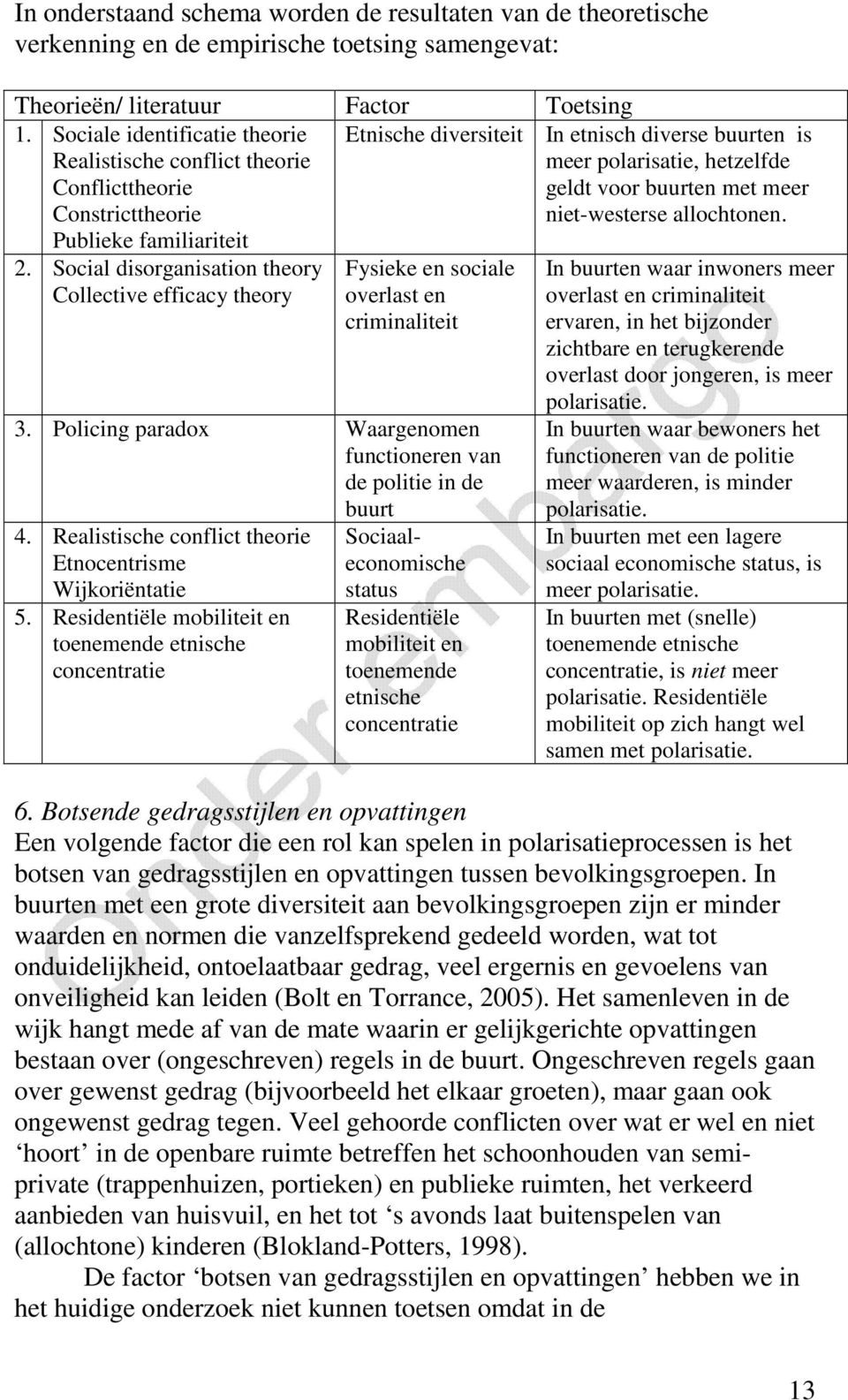 Social disorganisation theory Collective efficacy theory Etnische diversiteit In etnisch diverse buurten is meer polarisatie, hetzelfde geldt voor buurten met meer niet-westerse allochtonen.