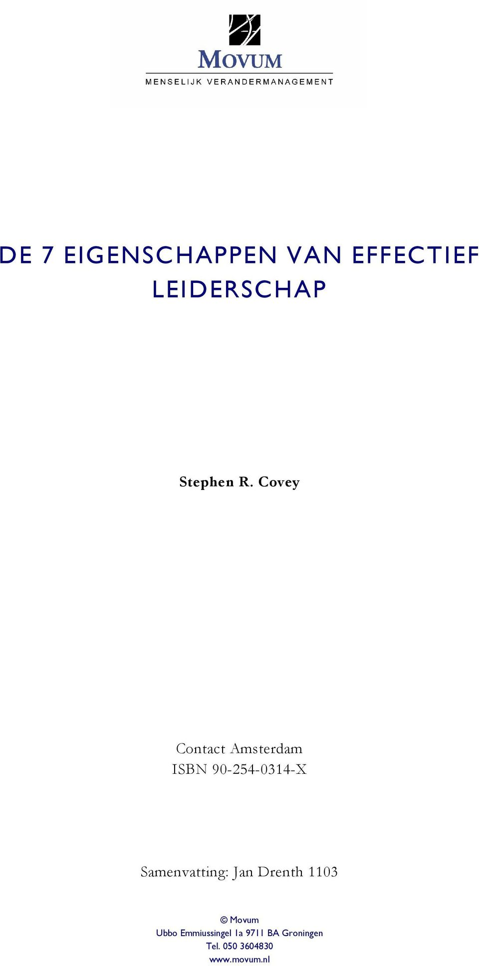 Covey Contact Amsterdam ISBN