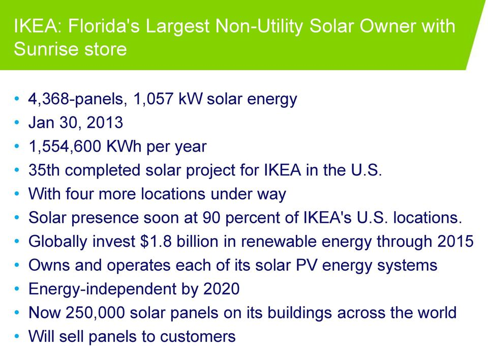 With four more locations under way Solar presence soon at 90 percent of IKEA's U.S. locations. Globally invest $1.