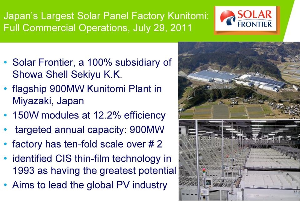 K. flagship 900MW Kunitomi Plant in Miyazaki, Japan 150W modules at 12.