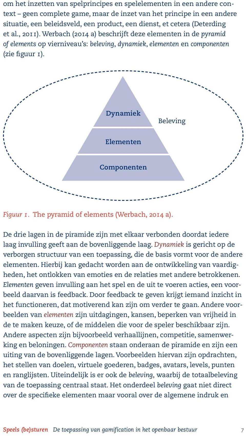 Dynamiek Beleving Elementen Componenten Figuur 1. The pyramid of elements (Werbach, 2014 a).