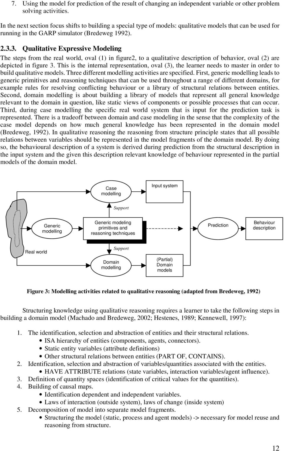 3. Qualitative Expressive Modeling The steps from the real world, oval (1) in figure2, to a qualitative description of behavior, oval (2) are depicted in figure 3.