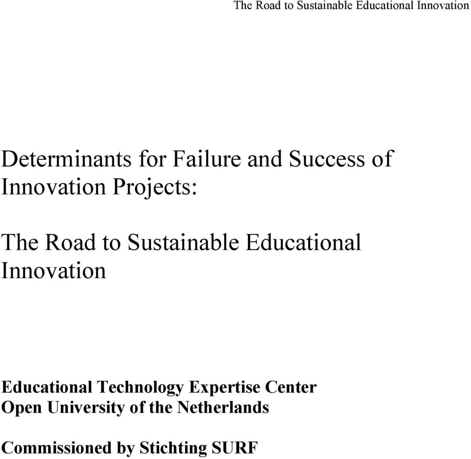 Sustainable Educational Innovation Educational Technology