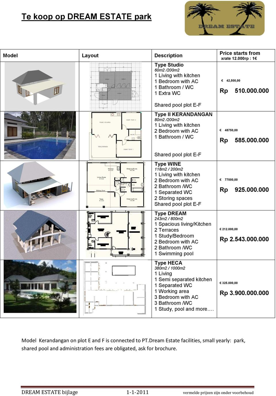 plot E-F Type DREAM 243m2 / 800m2 1 Spacious living/kitchen 2 Terraces 1 Study/Bedroom 2 Bedroom with AC 2 Bathroom /WC 1 Swimming pool Type HECA 380m2 / 1000m2 1 Living 1 Semi separated kitchen 1