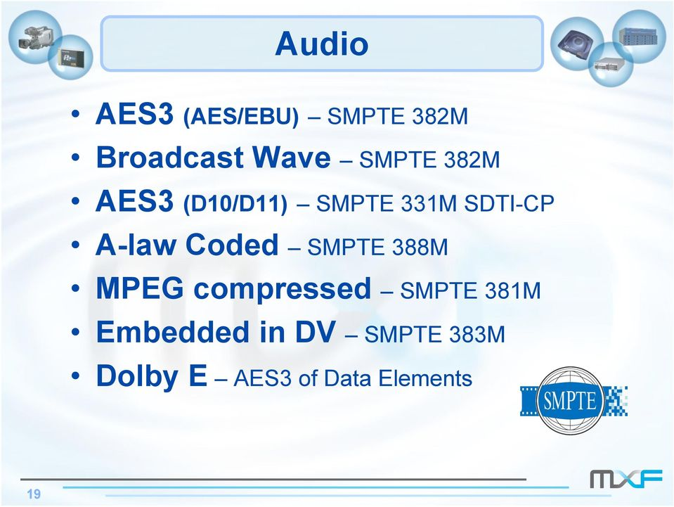 A-law Coded SMPTE 388M MPEG compressed SMPTE 381M