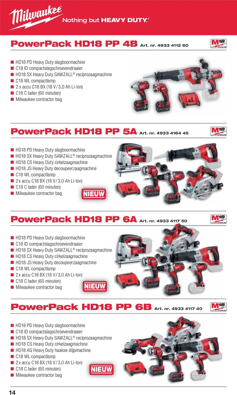 C lader (60 minuten) Milwaukee contractor bag PowerPack HD18 PP P 5A Art. nr.