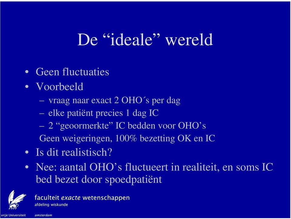 s Geen weigeringen, 100% bezetting OK en IC Is dit realistisch?