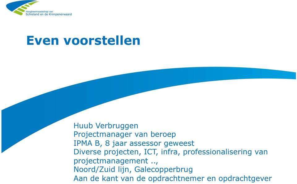 infra, professionalisering van projectmanagement.