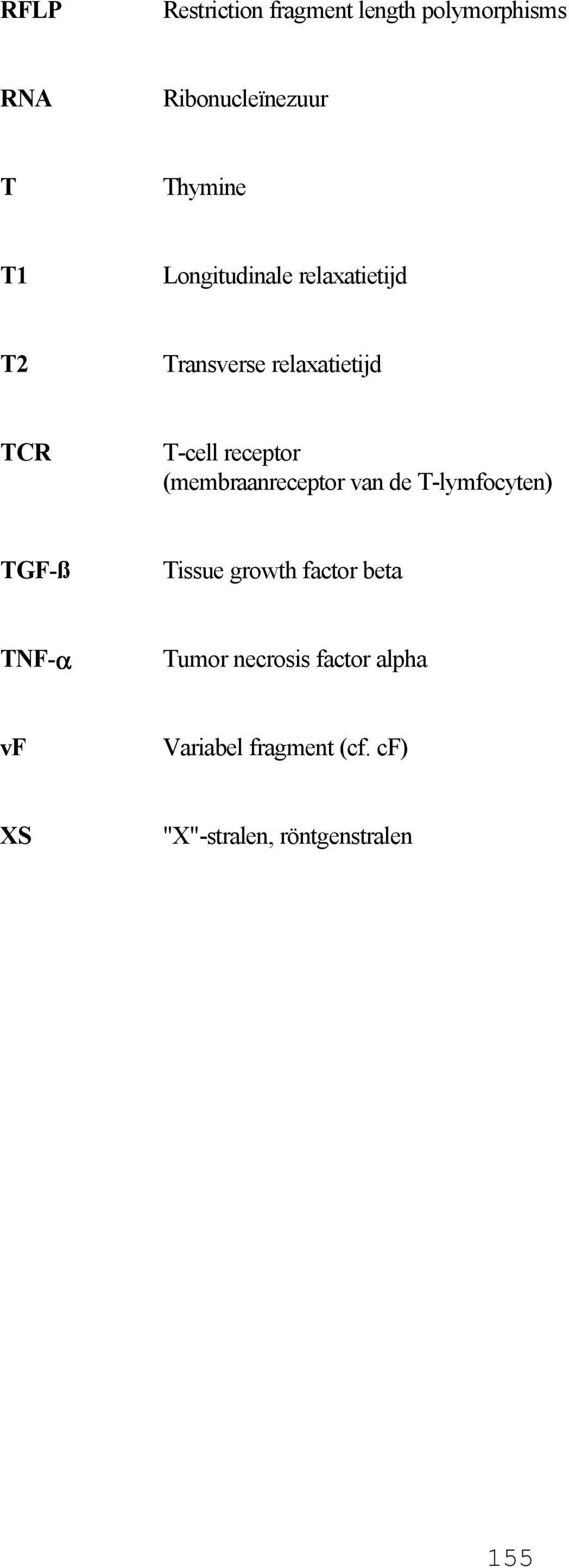 (membraanreceptor van de T-lymfocyten) TGF-ß Tissue growth factor beta TNF-α