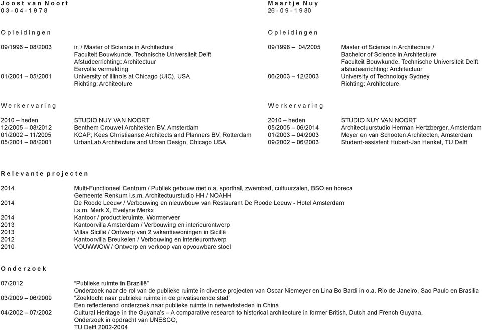 Richting: Architecture O p l e i d i n g e n 09/1998 04/2005 Master of Science in Architecture / Bachelor of Science in Architecture Faculteit Bouwkunde, Technische Universiteit Delft