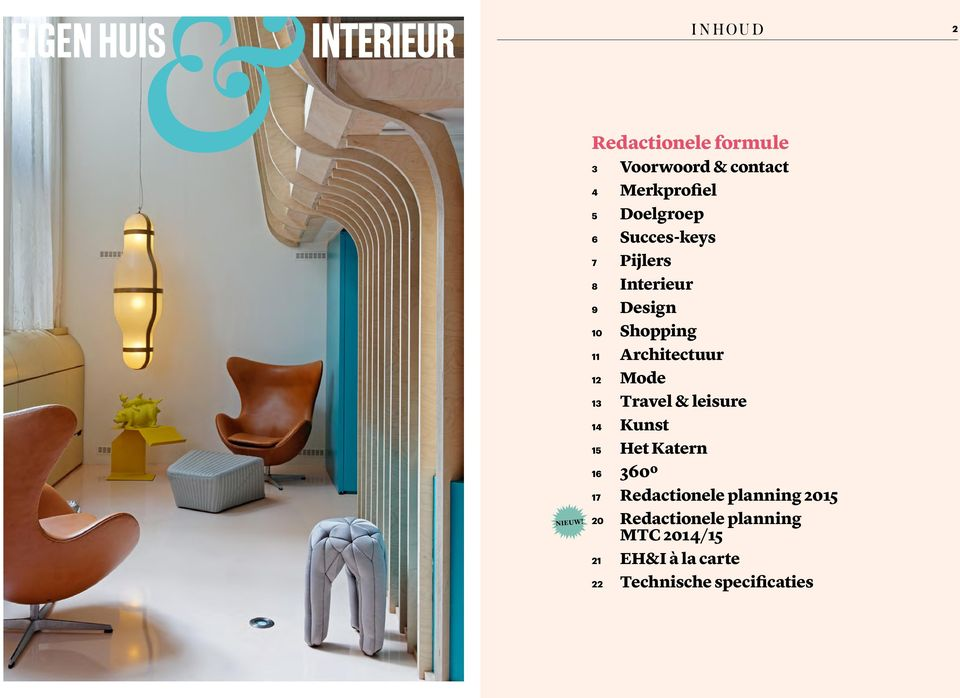 7 Pijlers 8 Interieur 9 Design 10 Shopping 11 Architectuur 12 Mode 13 Travel &