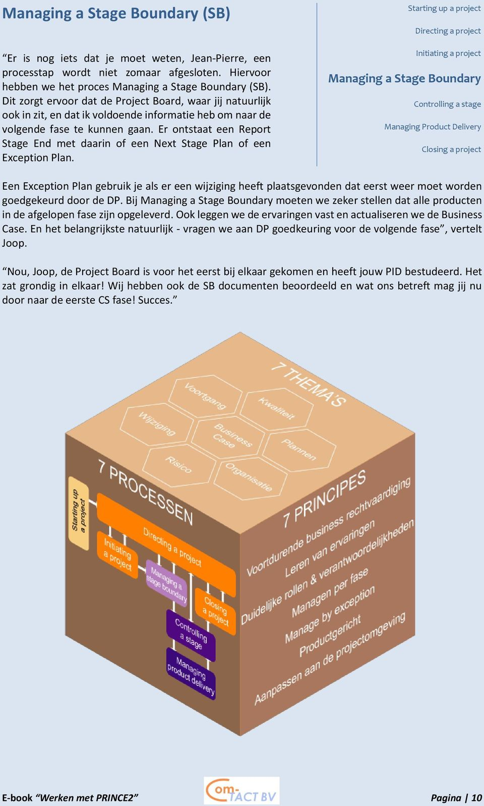 Er ontstaat een Report Stage End met daarin of een Next Stage Plan of een Exception Plan.
