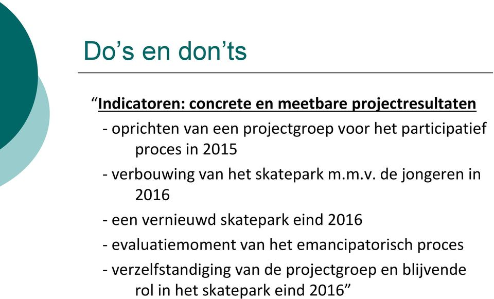 or het participatief proces in 2015 - ve