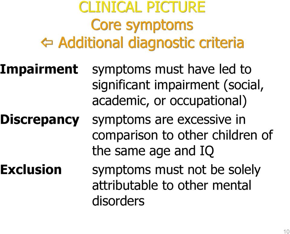 of the same age and IQ Exclusion CLINICAL PICTURE Core symptoms Additional