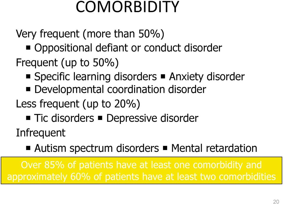 20%) Tic disorders Depressive disorder Infrequent Autism spectrum disorders Mental retardation Over 85%