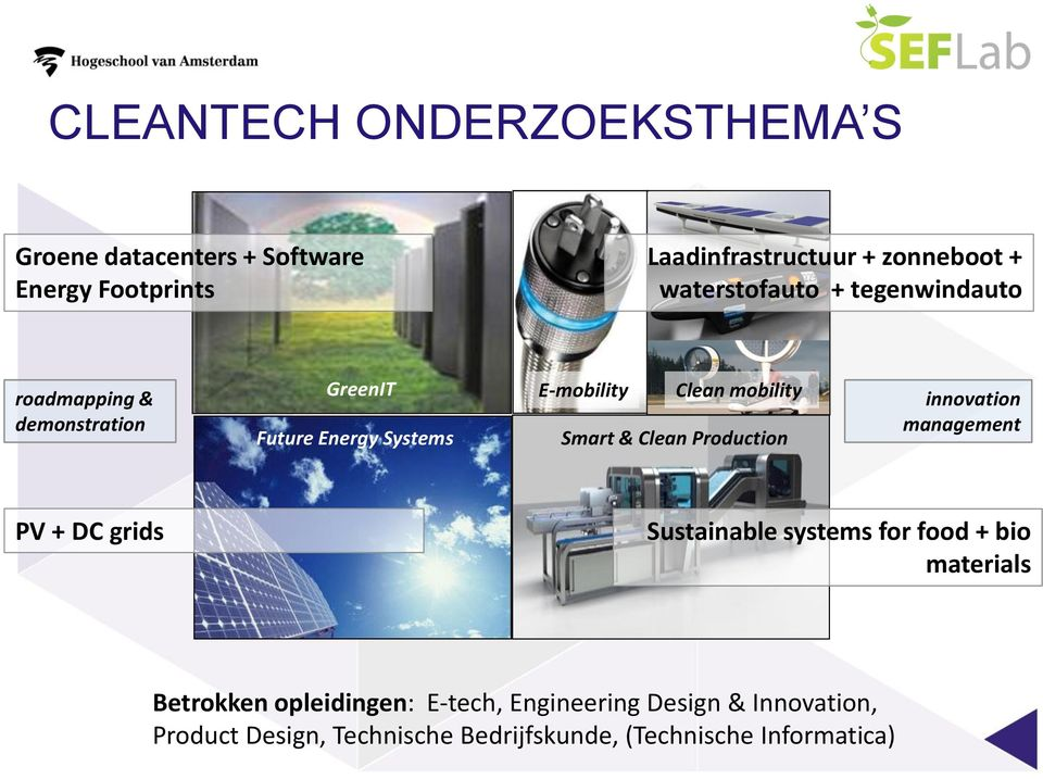 Smart & Clean Production innovation management PV + DC grids Sustainable systems for food + bio materials Betrokken