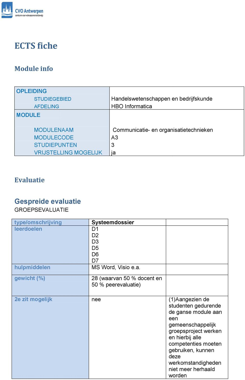 Systeemdossier D1 MS Word, Visio e.a.