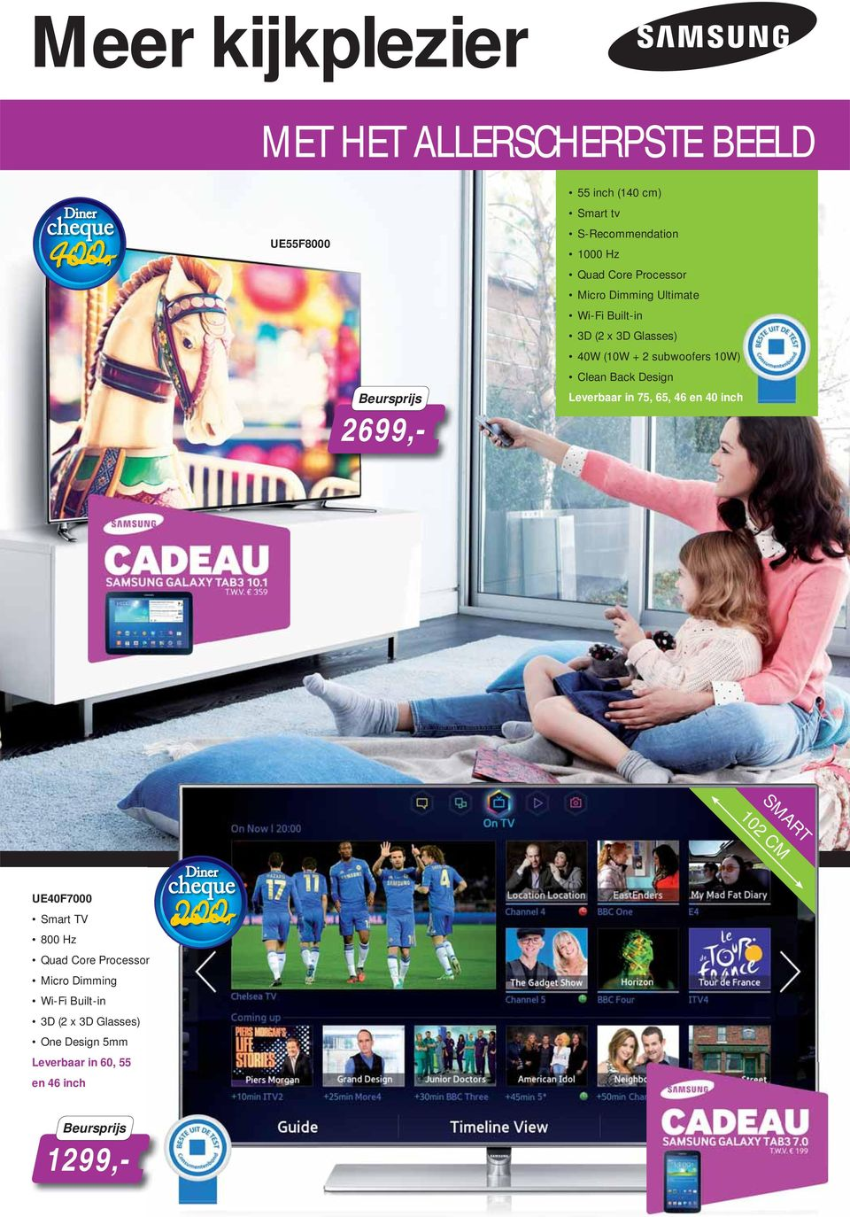 Clean Back Design Leverbaar in 75, 65, 46 en 40 inch SMART 102 CM UE40F7000 Smart TV 800 Hz Quad Core Processor
