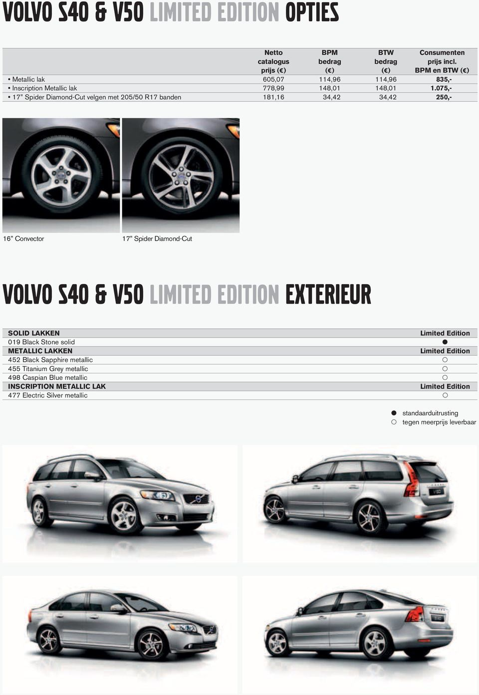075,- 17 Spider Diamond-Cut velgen met 205/50 R17 banden 181,16 34,42 34,42 250,- 16 Convector 17 Spider Diamond-Cut VOLVO S40 & V50 LIMITED EDITION