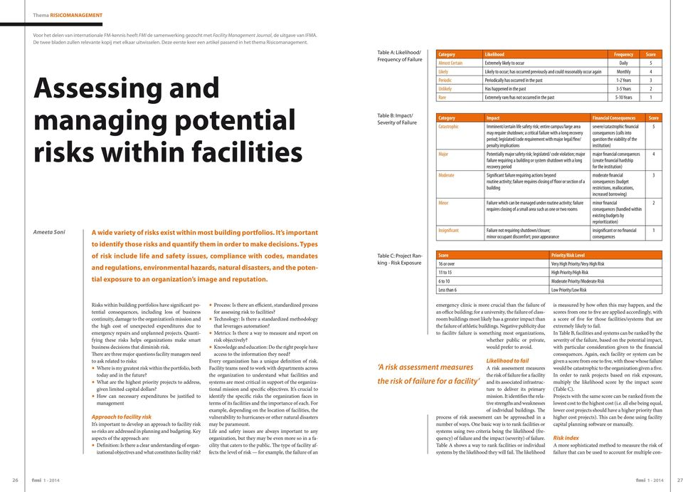 Assessing and managing potential risks within facilities Ameeta Soni A wide variety of risks exist within most building portfolios.