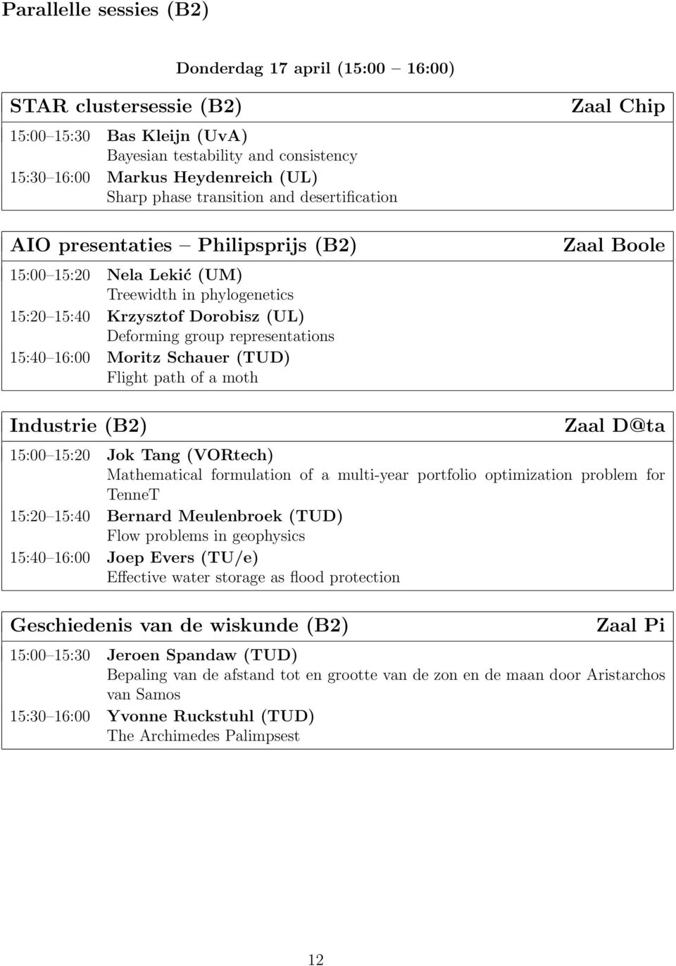 16:00 Moritz Schauer (TUD) Flight path of a moth Zaal Chip Zaal Boole Industrie (B2) Zaal D@ta 15:00 15:20 Jok Tang (VORtech) Mathematical formulation of a multi-year portfolio optimization problem