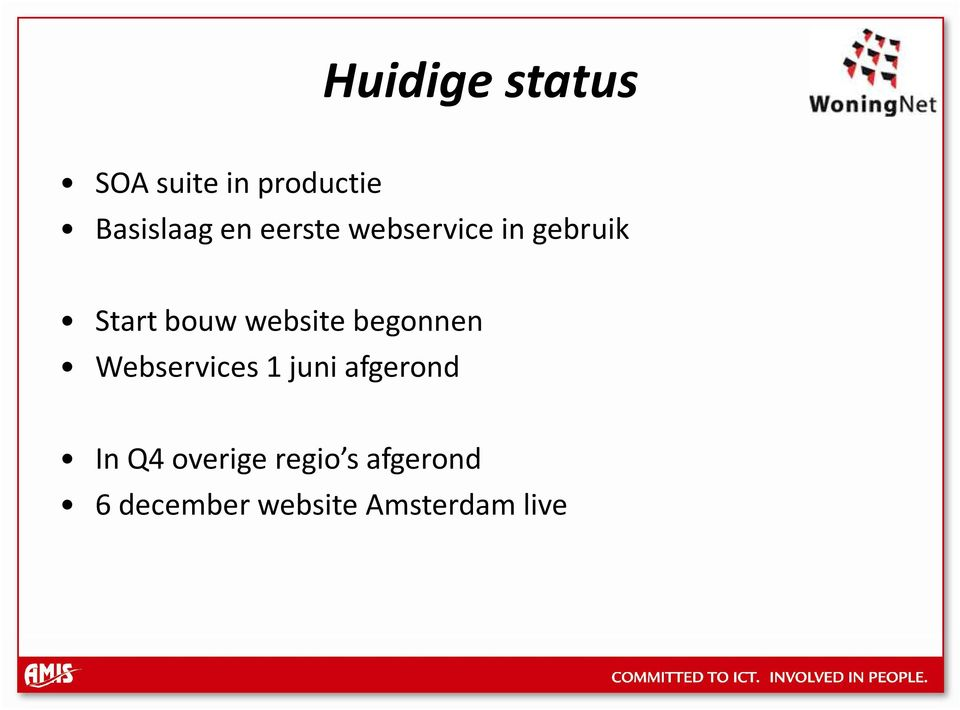 website begonnen Webservices 1 juni afgerond In