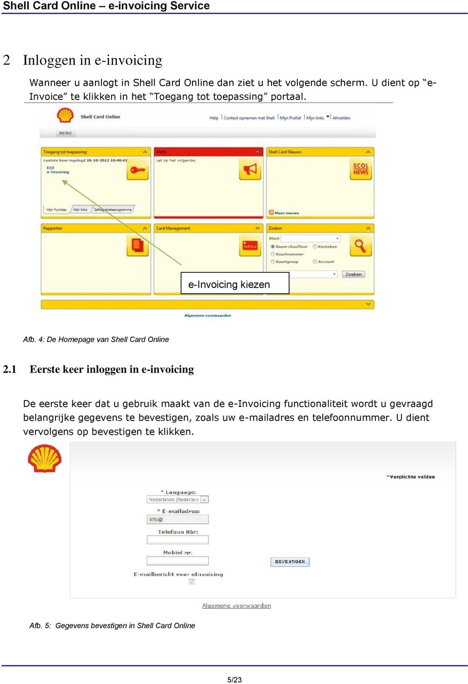 4: De Homepage van Shell Card Online 2.
