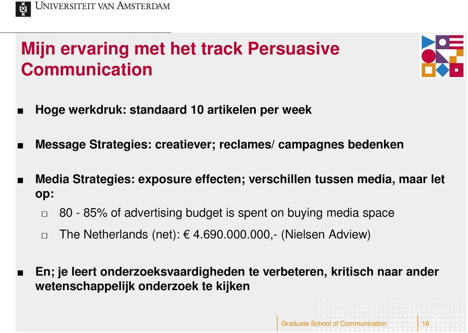 of advertising budget is spent on buying media space The Netherlands (net): 4.690.000.