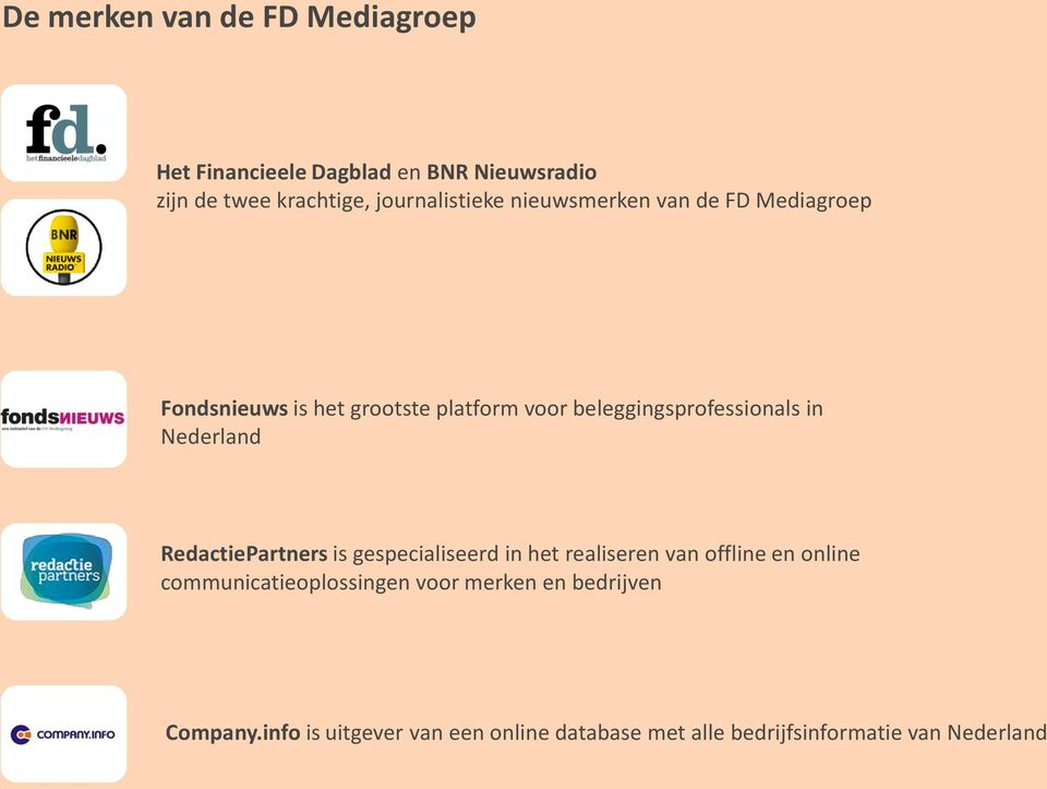 beleggingsprofessionals in Nederland RedactiePartners is gespecialiseerd in het realiseren van offline en