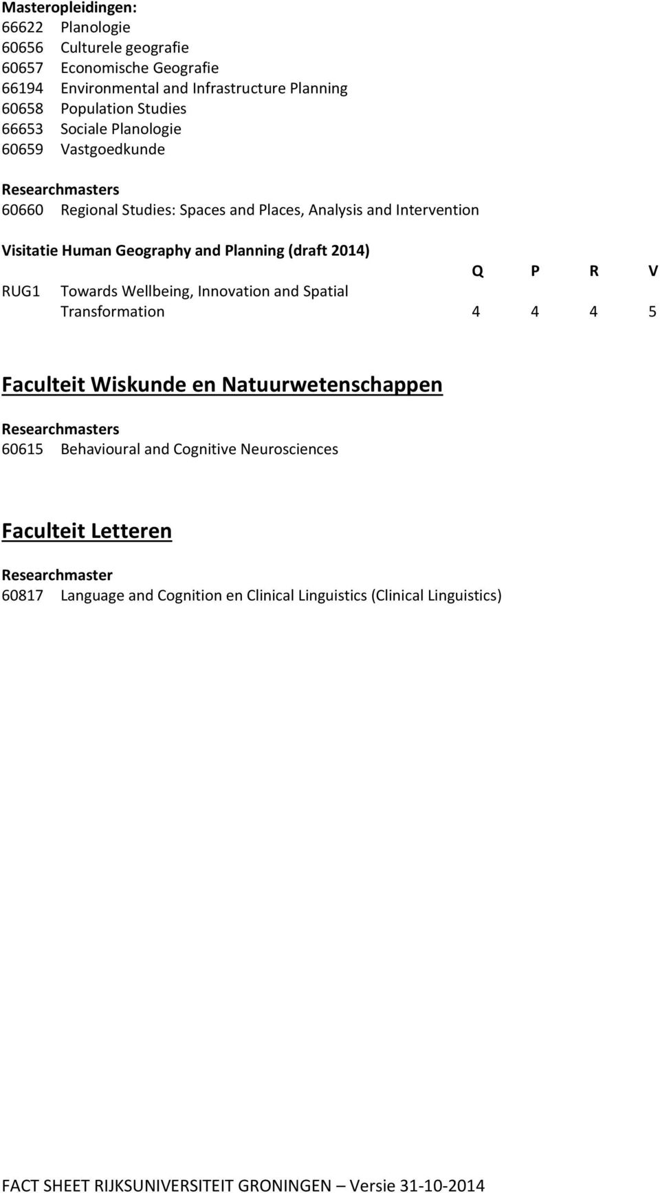 2014) Q P R V RUG1 Towards Wellbeing, Innovation and Spatial Transformation 4 4 4 5 Faculteit Wiskunde en Natuurwetenschappen Researchmasters 60615 Behavioural and Cognitive