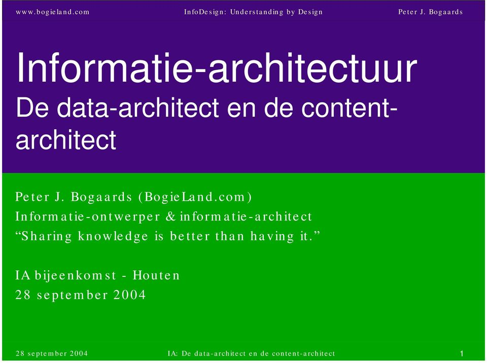 com) Informatie-ontwerper & informatie-architect Sharing knowledge