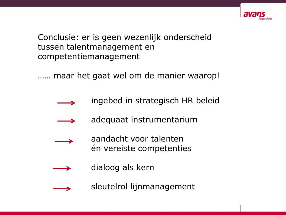ingebed in strategisch HR beleid adequaat instrumentarium aandacht