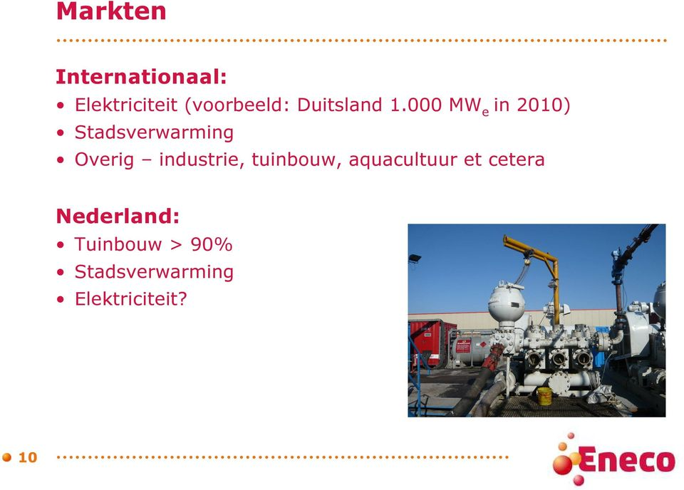 000 MW e in 2010) Stadsverwarming Overig industrie,