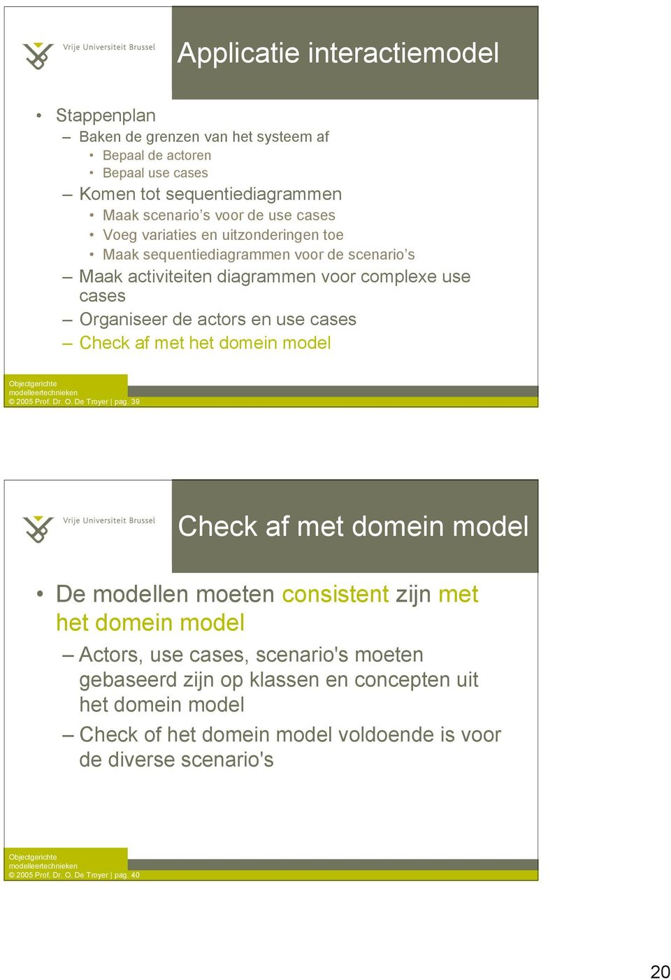 cases Check af met het domein model 2005 Prof. Dr. O. De Troyer pag.