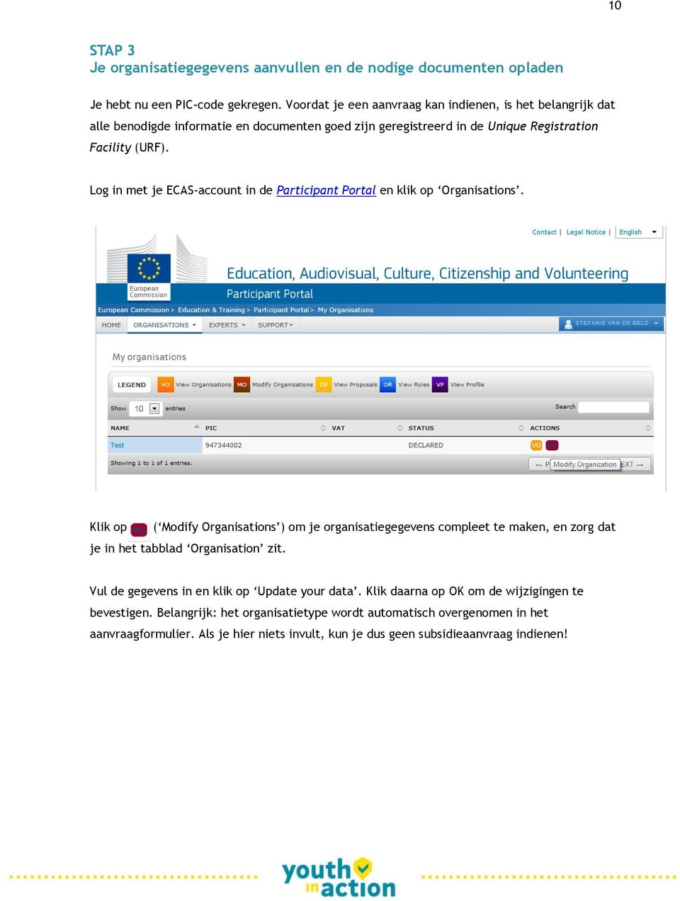 Log in met je ECAS-account in de Participant Portal en klik op Organisations.