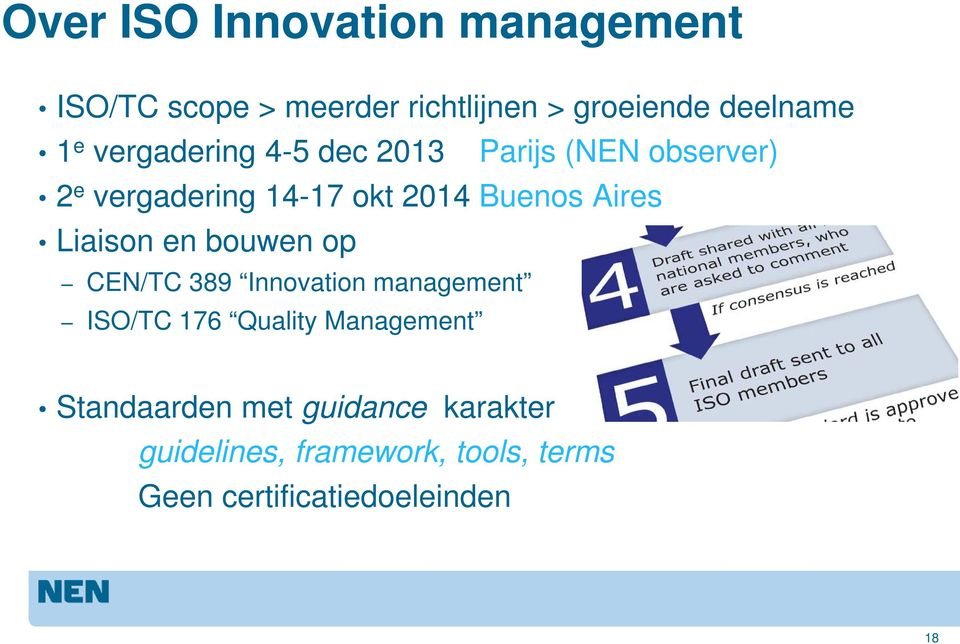 Liaison en bouwen op CEN/TC 389 Innovation management ISO/TC 176 Quality Management