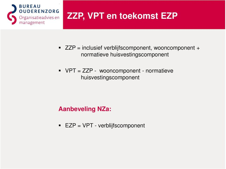 huisvestingscomponent VPT = ZZP - wooncomponent -