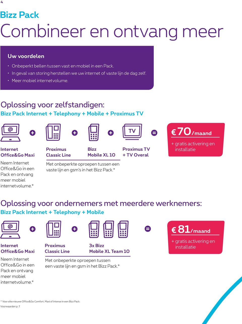 Oplossing voor zelfstandigen: Bizz Pack Internet + Telephony + Mobile + Proximus TV 70/maand Internet Office&Go Maxi Proximus Classic Line Bizz Mobile XL 10 Proximus TV + TV Overal + gratis