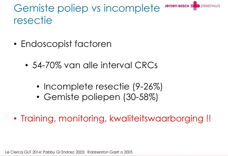 Gemiste poliepen (30-58%) Training, monitoring,