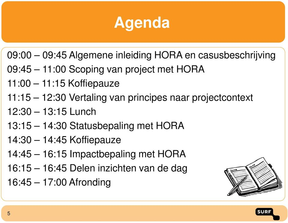 projectcontext 12:30 13:15 Lunch 13:15 14:30 Statusbepaling met HORA 14:30 14:45