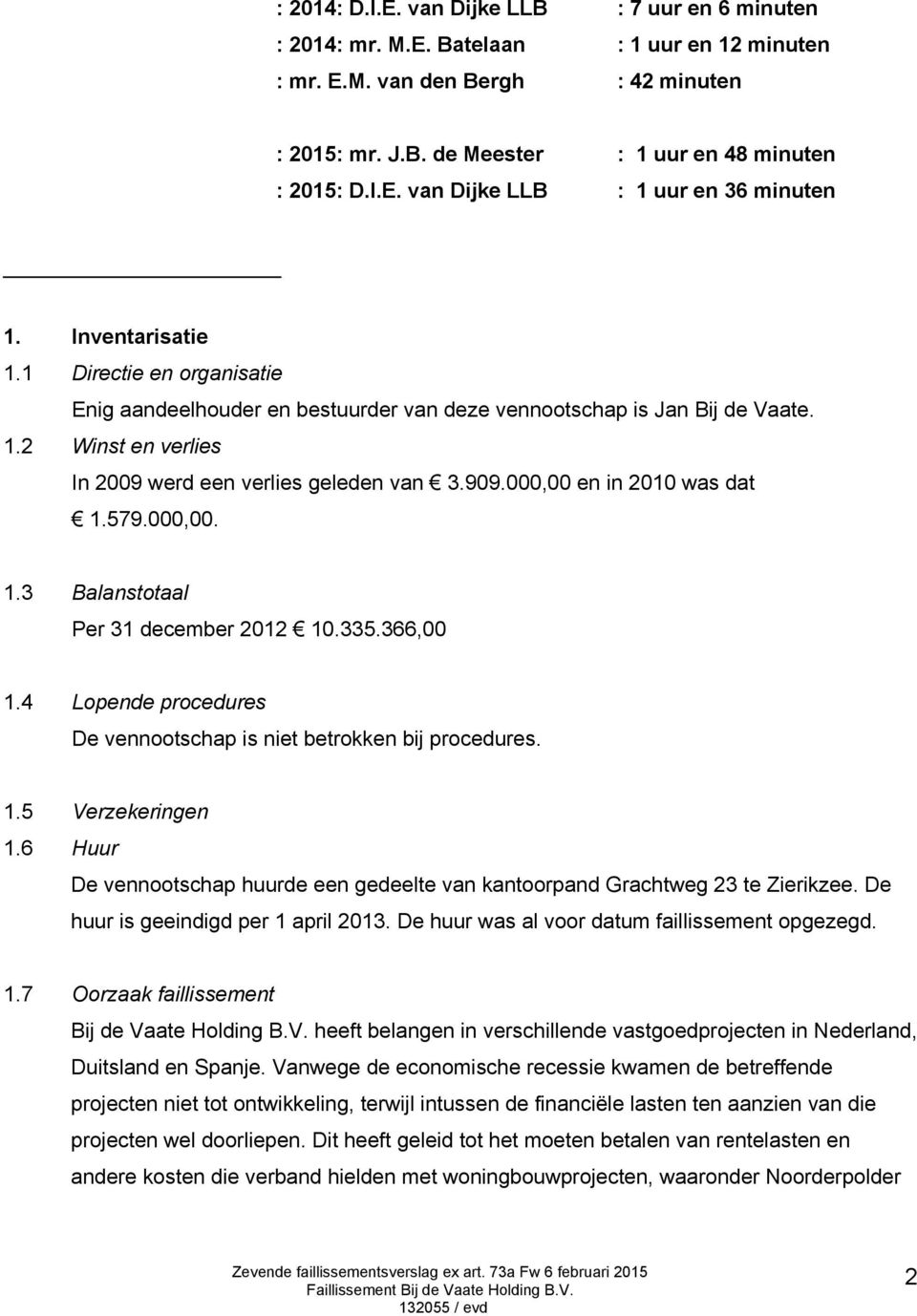 000,00 en in 2010 was dat 1.579.000,00. 1.3 Balanstotaal Per 31 december 2012 10.335.366,00 1.4 Lopende procedures De vennootschap is niet betrokken bij procedures. 1.5 Verzekeringen 1.