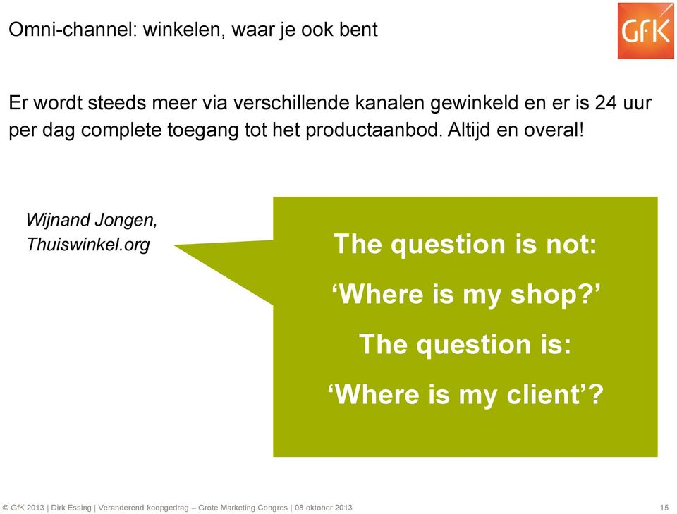 Wijnand Jongen, Thuiswinkel.org The question is not: Where is my shop?