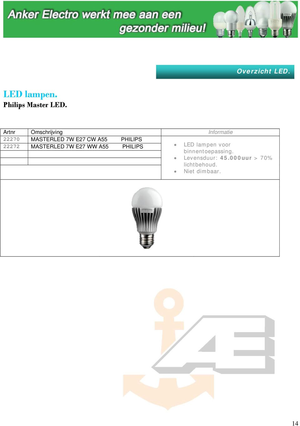 PHILIPS 22272 MASTERLED 7W E27 WW A55 PHILIPS LED lampen