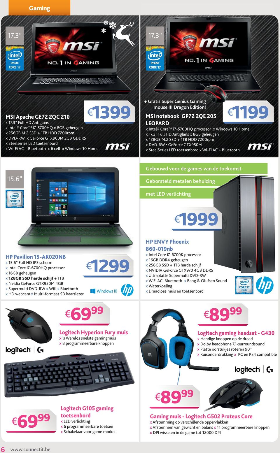 MSI notebook GP72 2QE 205 LEOPARD 11 x Intel Core i7-5700hq processor x Windows 10 Home x 17.3 Full HD Antiglans x 8GB geheugen x 128GB M.