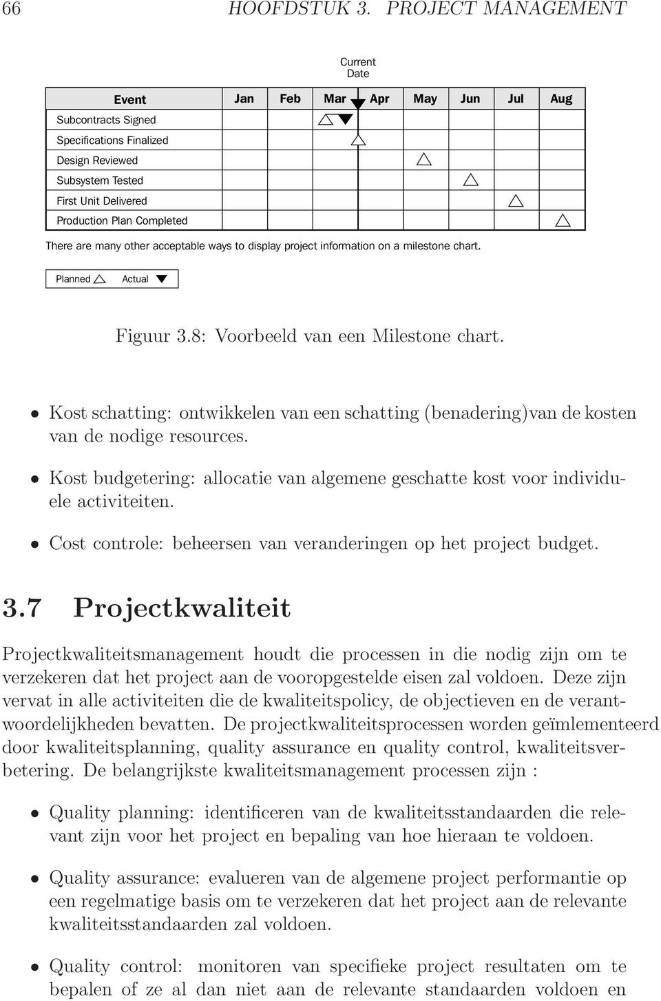 There are many other acceptable ways to display project information on a milestone chart. Planned Actual Figuur 3.8: Voorbeeld van een Milestone chart.