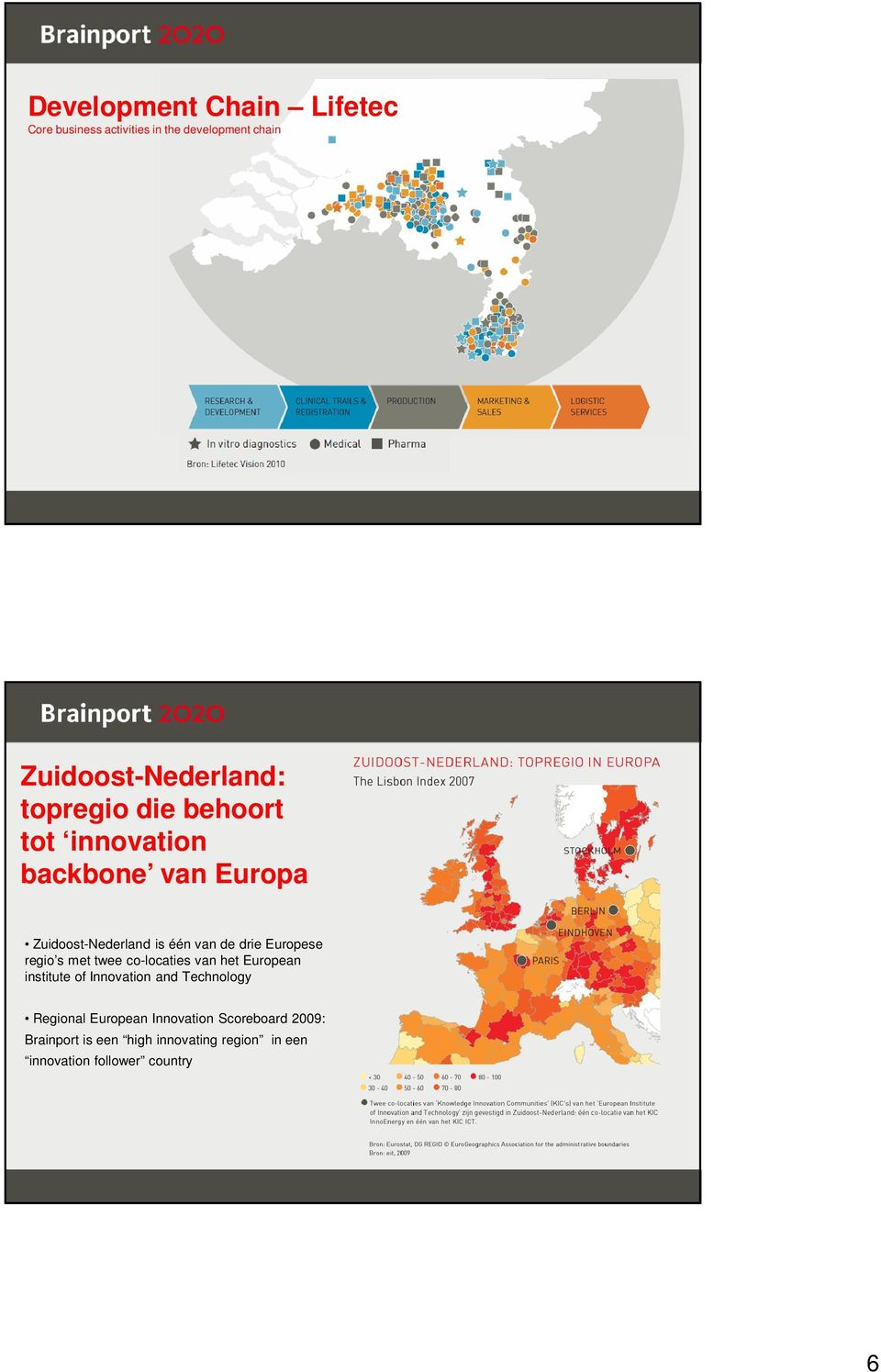Europese regio s met twee co-locaties van het European institute of Innovation and Technology