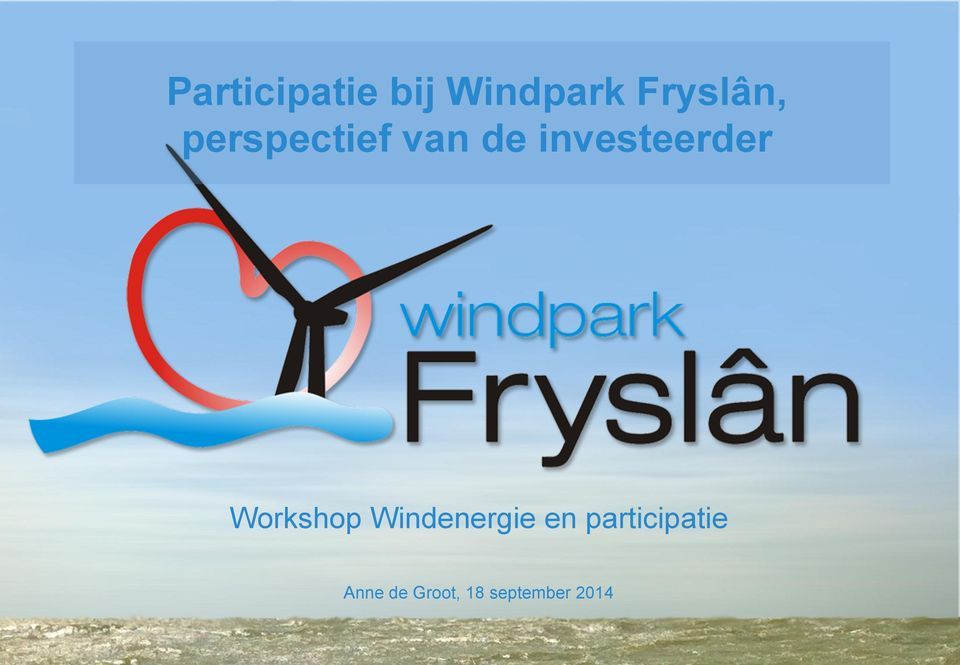 investeerder Workshop Windenergie