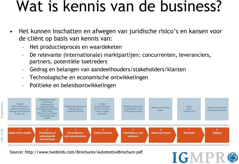 productieproces en waardeketen De relevante (internationale) marktpartijen: concurrenten, leveranciers, partners,