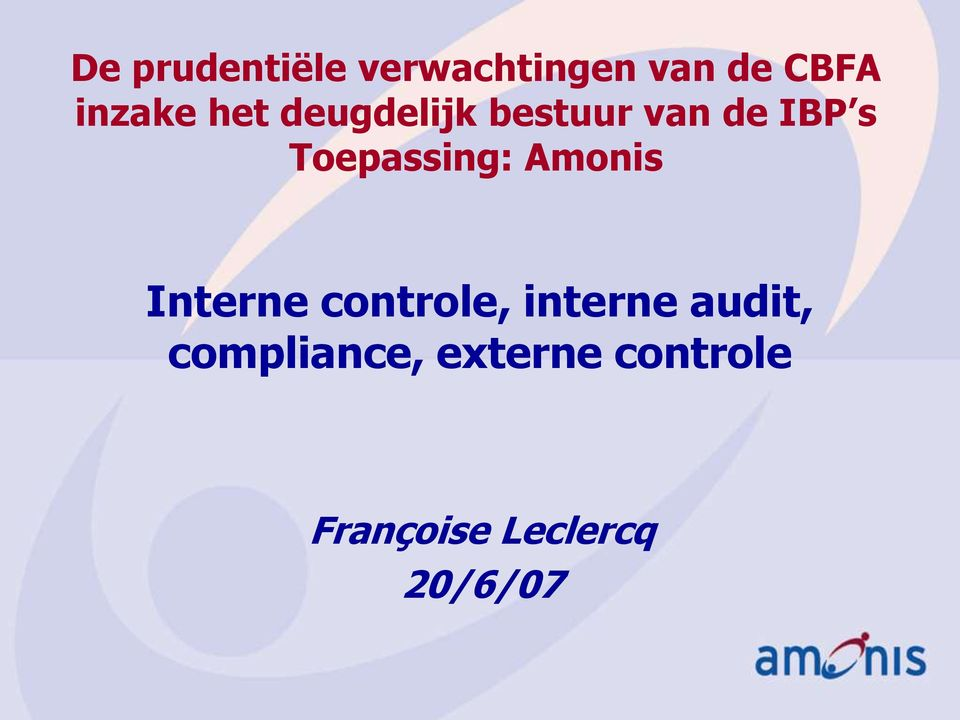 Amonis Interne controle, interne audit,